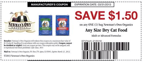 printable grocery coupons for organic foods newmans own organic cat food coupon
