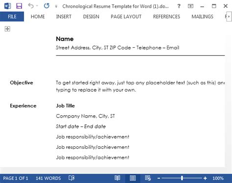 chronological resume template word chronological resume template for word