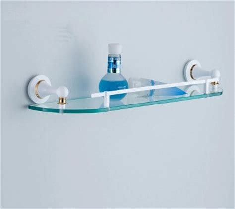 white porcelain bathroom shelf brass single roasted white porcelain with tempered glass