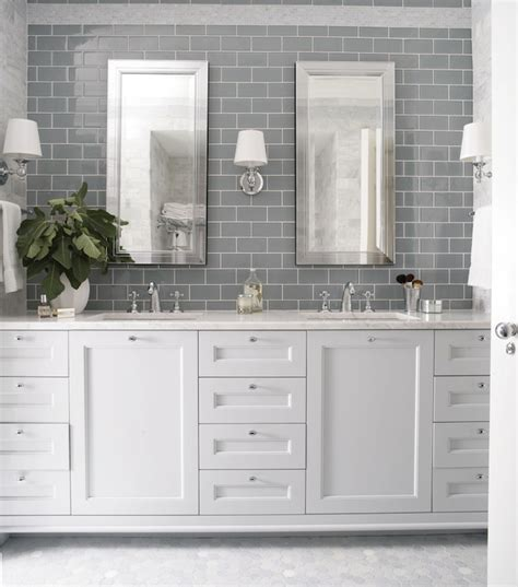 Gray Glass Mosaic Tiled Backsplash Transitional Bathroom | heather garrett design bathrooms gray subway tile