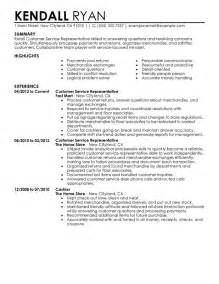 customer service representative resume sle summary
