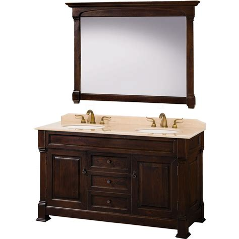 vanity bathrooms rustic andover 60 quot traditional bathroom double vanity set