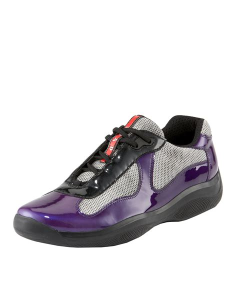 mens purple sneakers prada patent leather sneaker in purple for lyst