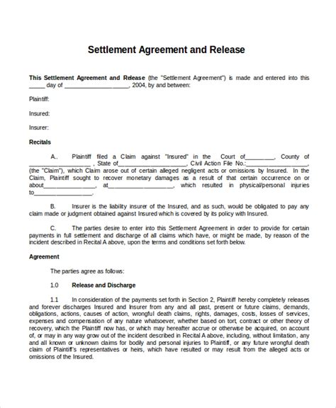 22 Agreement Templates Free Sle Exle Format Free Premium Templates Settlement Agreement And Release Of All Claims Template