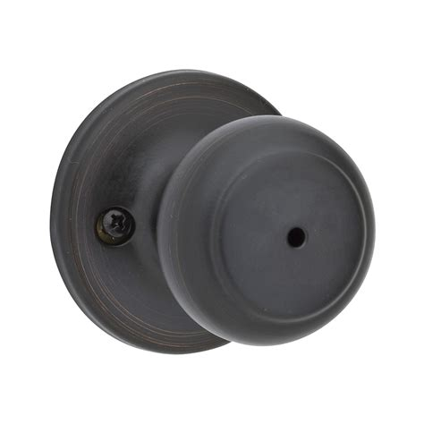 Kwikset Interior Door Knobs Shop Kwikset Cove Venetian Bronze Turn Lock Privacy Door Knob At Lowes