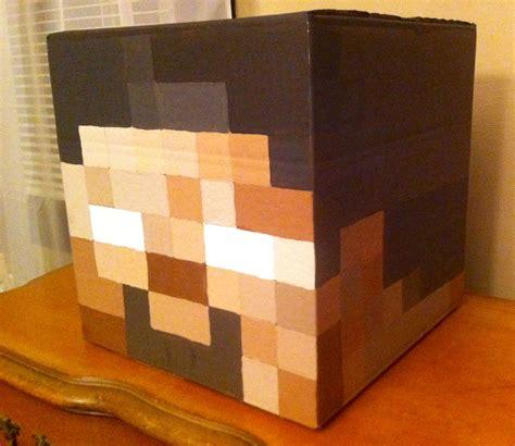 printable herobrine mask quot herobrine quot head minecraft costume 12 quot square box