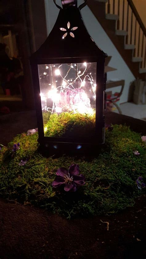 amethyst geode fairy lights  moss lantern wedding