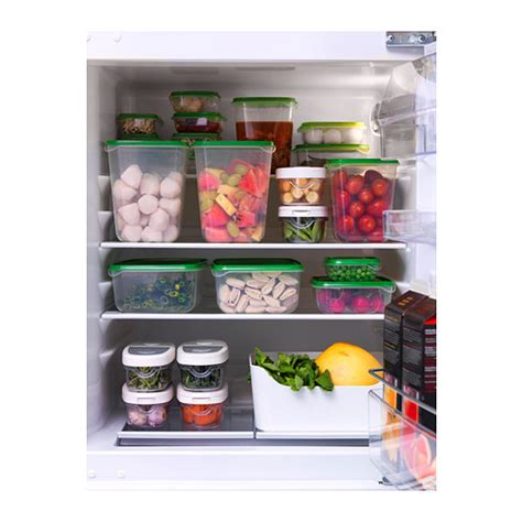 ikea food storage pruta food container set of 17 transparent green ikea
