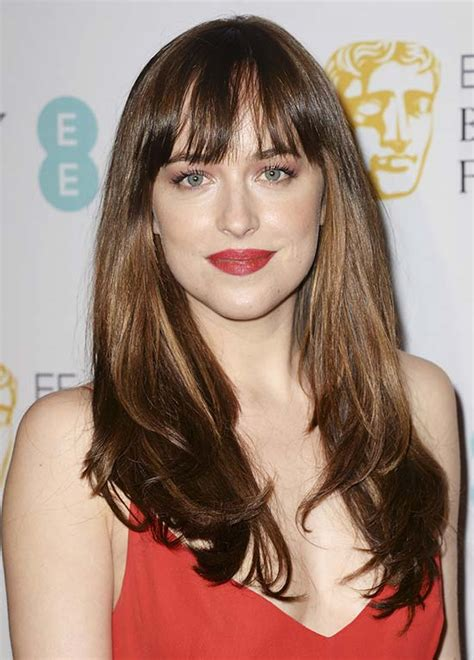 dakota johnson bangs are called what 20 cute long layered haircuts with bangs to make you look