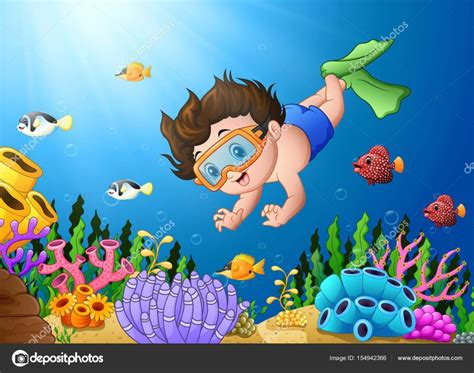 imagenes niños nadando ni 241 o de dibujos animados de buceo en el mar archivo