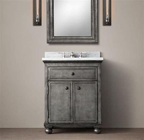 powder room vanity sink yes restoration hardware zinc powder room vanity sink and carrara marble house renos