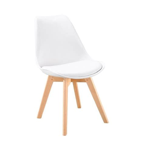 chaise coque blanche bjorn chaise scandinave de salle 224 manger blanche achat