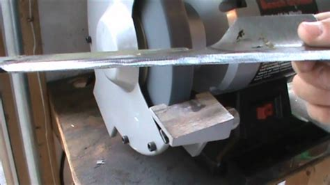 sharpen mower blade bench grinder how to sharpen a lawnmower blade youtube