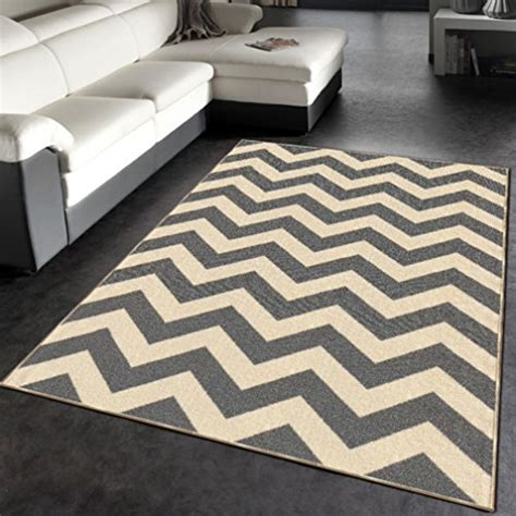 4 X 5 Kitchen Rug Rubber Backed 3 4 Quot X 5 Rich Chevron Grey Ivory Zig Zag Area Non Slip Rug Rana Collection