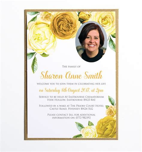 this elegant funeral invitation or announcement card