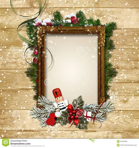 christmas frame   decor   nutcracker   wooden ba royalty  stock images