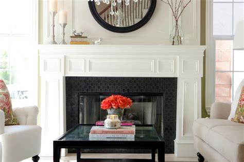 Black And White Fireplace Tiles by Black Hex Tiles Transitional Living Room Belmont Design