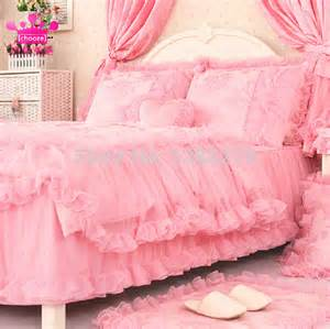 sweet girl pink princess style warm bed set duvet cover