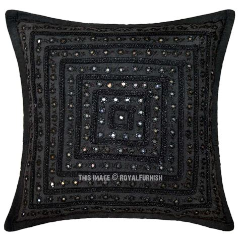 unique couch pillows black decorative unique mirrored embroidered throw pillow