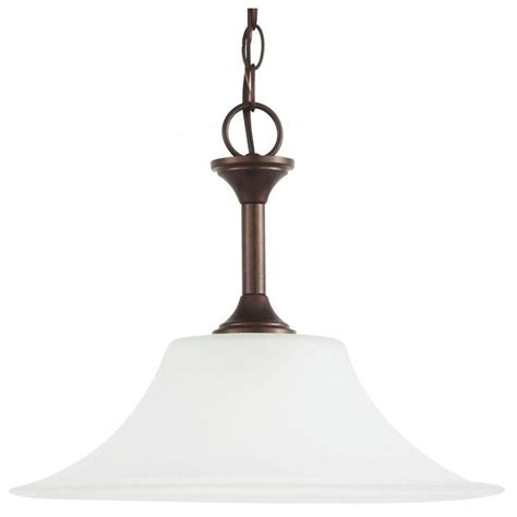 Metal Bell Pendant Light Sea Gull Lighting Holman 1 Light Bell Metal Bronze Pendant 65806 827 The Home Depot