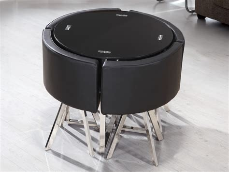 wonderful How To Decorate Dining Room Table #5: super-compact-space-saver-dining-set-with-black-round-table-and-leather-chairs-with-metal-leg-for-modern-and-minimalist-dining-room.jpg