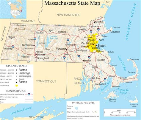 massachusetts state massachusetts state map a large detailed map of massachusetts state usa