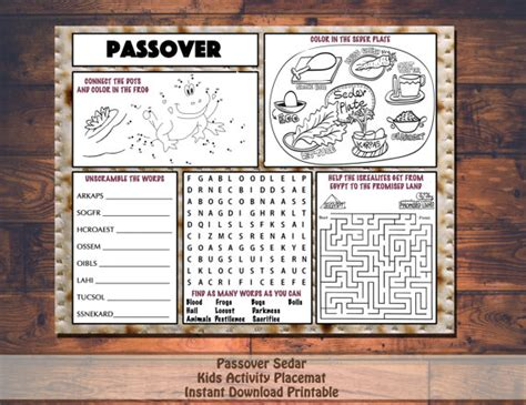 printable toddler haggadah kids passover pesach activity printable placemat instant