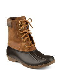 sperry top sider shearwater leather duck boots in brown lyst