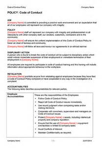 company code of ethics template code of conduct policy template digital documents direct