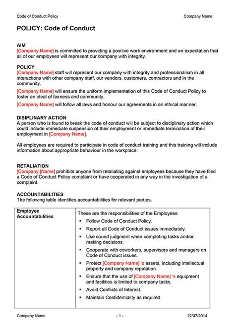 Code Of Conduct Policy Template Digital Documents Direct Code Of Ethics Template