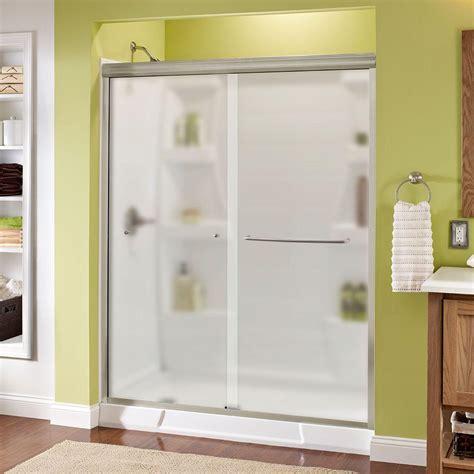 Semi Framed Shower Door Delta Simplicity 60 In X 70 In Semi Framed Sliding Shower Door In Chrome With Niebla Glass