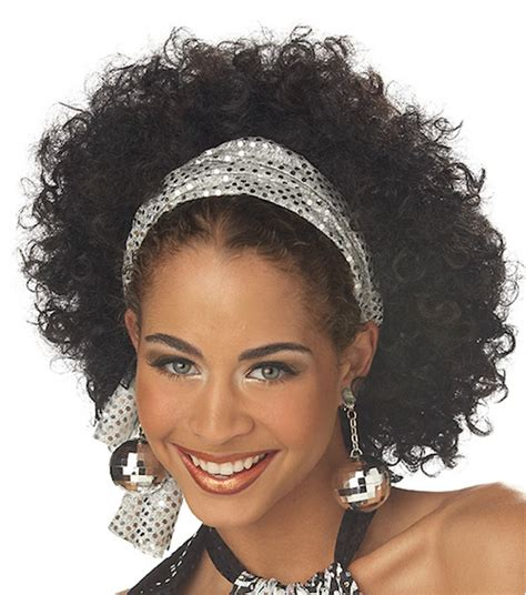 80 black hair styles disco fab ghetto afro 70s 80s black brown women costume wig