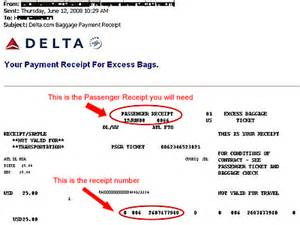 united airlines baggage charge receipt
