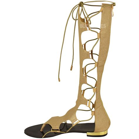 knee high lace up sandals womens gladiator knee high flat sandals lace up