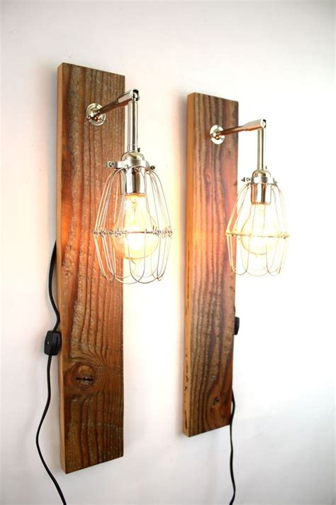 Wood Wall Sconce Made Mesic Wall Sconce Reclaimed Wood L Industrial Cage Light By Mfeo