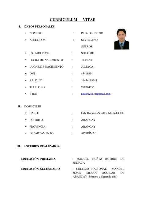 Modelo Curriculum Vitae Practicas Pre Profesionales Curriculum Vitae Actual
