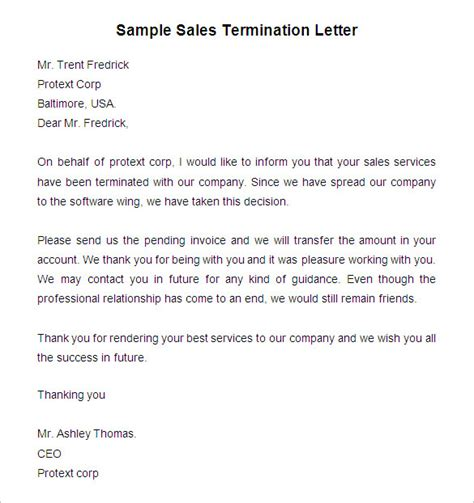 termination letter sle for connection free termination letter template 39 free sle