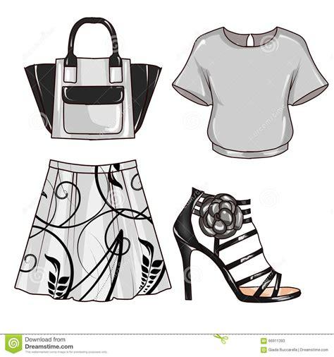 fashion illustration accessories raster fashion illustration clip set of s clothes and accessories stock illustration