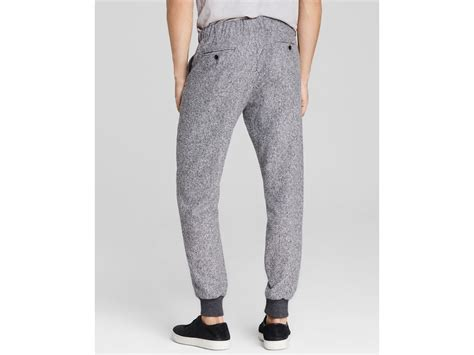 grey patterned joggers vince herringbone jogger pants in gray for men lyst