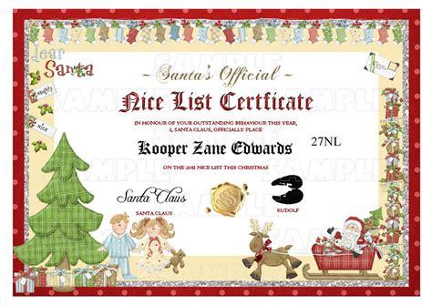 santa nice list certificate www imgkid com the image kid has it