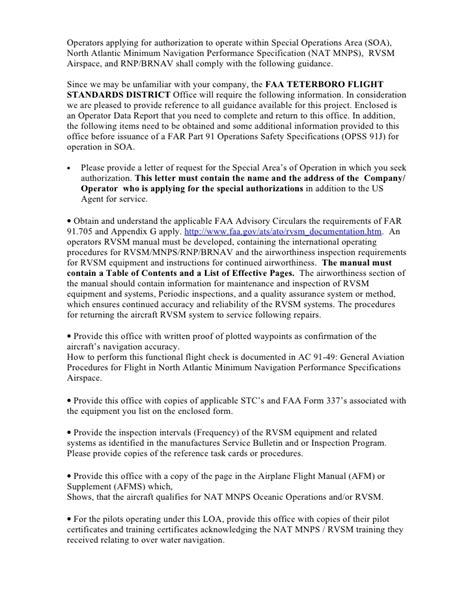 Juneau Airspace Letter Of Agreement Letters Of Authorization For Soa Nat Mnps Rvsm Airspace