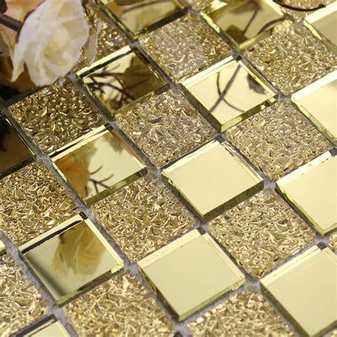 Glass mirror mosaic tile sheets gold mosaic bathroom shower wall tiles design bravotti com