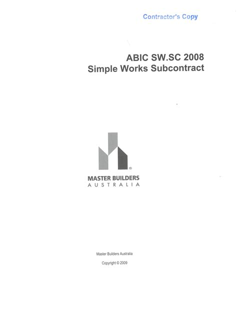 Mba Procurement And Contract Management by Abic Sw Sc 2008 Companion Subcontract To Sw 2008 And Sw