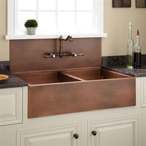farmhouse sink with faucet holes 36 quot christina double bowl copper farmhouse sink no