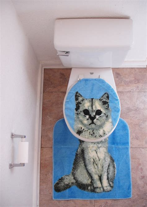 cat toilet seat cover and rug cat toilet seat cover with rug amazing deadstock 1992