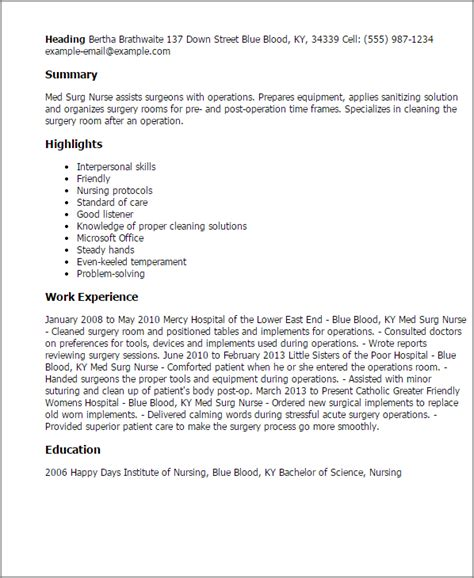 Sle Resume For Rn In Med Surg Professional Med Surg Templates To Showcase Your