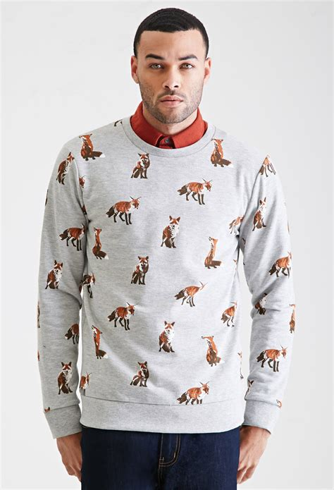 Fox Sweater lyst forever 21 fox print sweatshirt in gray