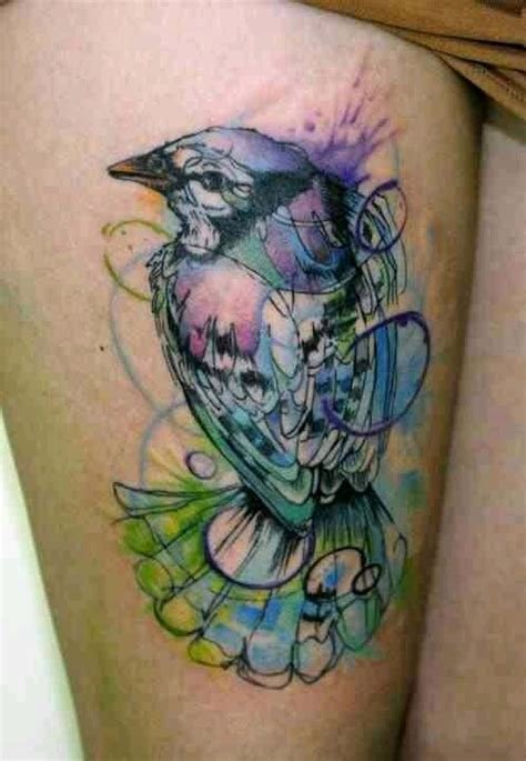 watercolor tattoo effect water color effect bird ink splatter pastel