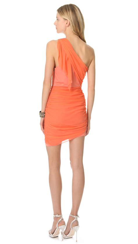 drape dress with one shoulder alice olivia one shoulder drape dress in orange lyst