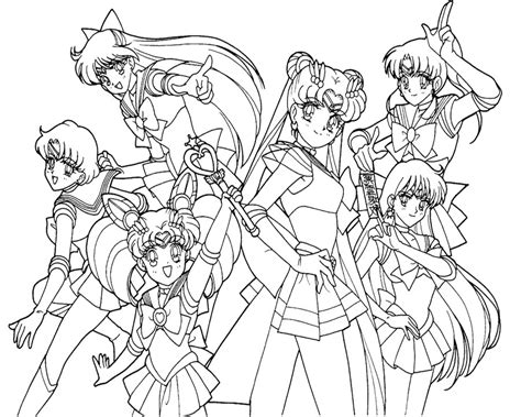 sailor moon color sailor moon and friend familiar coloring page print